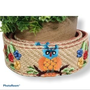Lucky Brand Embroidered Owl Spring Belt Size 30